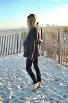 navy RED valentino jacket - navy J Brand pants - light brown Forever 21 loafers