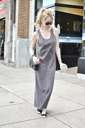 black Chanel bag - heather gray asos dress - silver Armani Exchange sunglasses