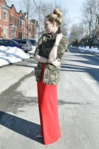 olive green Stradivarius jacket - red Ralph Lauren dress