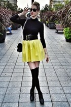 yellow Zara skirt - black Chanel bag - black Christian Louboutin heels
