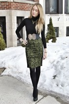 black American Apparel top - olive green nicole miller skirt