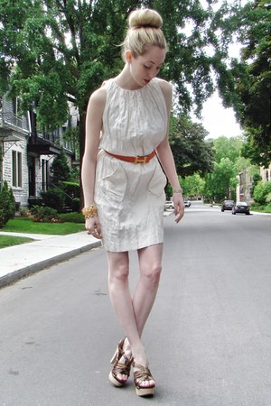 beige nicole miller dress - carrot orange Hermes belt