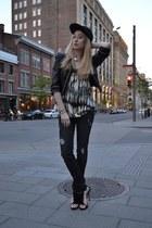 black Genetic Denim jeans - black herve leger hat - black Forever 21 jacket