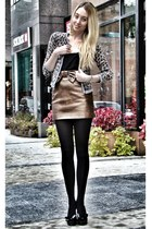 bronze H&M skirt - tan Autumn Cashmere cardigan - black Valentino heels