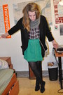 Green-song-skirt-black-wilfred-blazer-maroon-forever21-shirt-heather-gray-