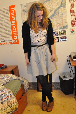 white H&M jumper - black American Apparel tights - black song cardigan - white b