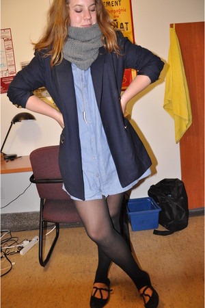 blue vintage shirt - blue vintage blazer - black Cooperative shoes - black Ameri