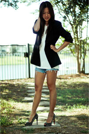 Christian Louboutin shoes - vintage blazer - DIY shorts - husbands t-shirt