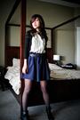 Blue-issarocks-skirt-beige-petite-sophisticate-blouse-black-club-monaco-card