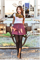 purple issarocks skirt - white Target t-shirt - green issarocks necklace - black