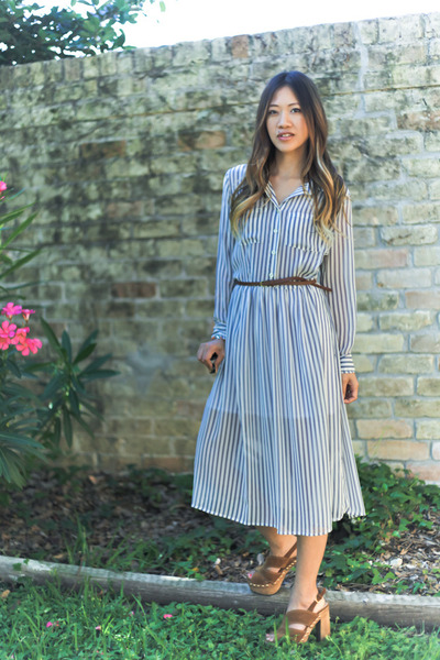 blue shirt dress Forever 21 dress - light brown wood platforms Miu Miu clogs