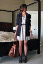 black ann taylor blazer - brown seychelles boots - beige shop in korea dress