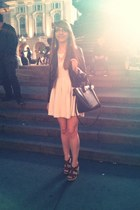 white skater dress H&M dress - black leather jacket H&M jacket