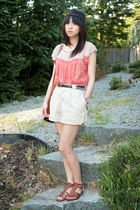 red Forever 21 top - brown Jeffrey Campbell shoes - beige Liz Claibrone shorts -