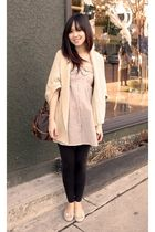 beige asos cardigan - black H&M leggings - vintage purse - beige no brand dress