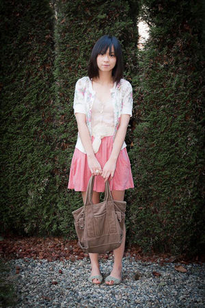 pink Zara skirt - brown Japan bag - white Dressup cardigan - beige Bershka top