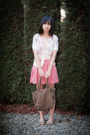pink Zara skirt - brown Japan bag - white Dressup cardigan - beige Bershka top
