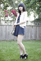 blue diy Levis dress - black Forever 21 shoes - beige vintage bag