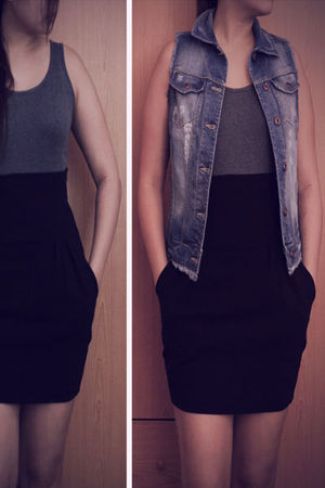 blue Mango vest - gray Uniqlo top - black Pull & Bear skirt