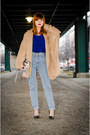 Light-blue-high-waist-american-apparel-jeans-camel-oversized-miia-coat