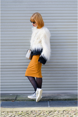 mustard American Apparel dress - Unreal Fur jacket