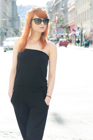 black H&M romper - christian dior sunglasses - ruby red Miu Miu flats