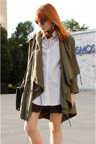 dark khaki parka asos coat - white shirt - black lace slip asos intimate