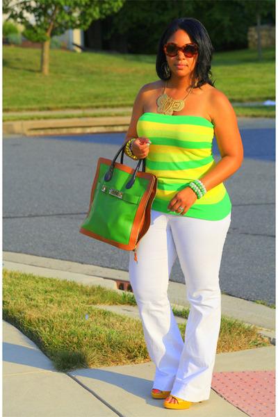 green PROENZA SCHOULER bag - yellow flared leg Zara jeans