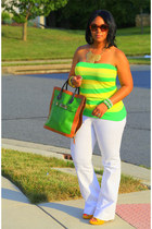 green PROENZA SCHOULER bag - yellow flared leg Zara jeans