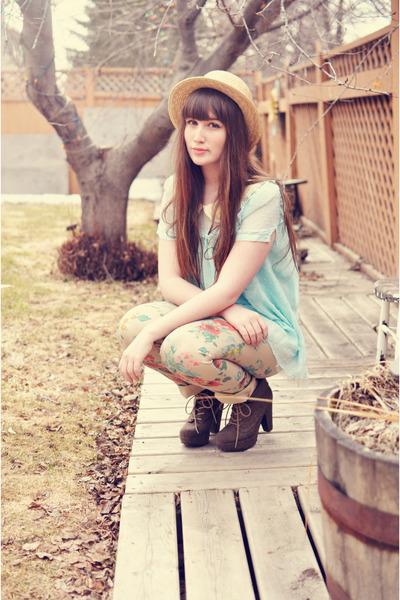light blue OASAP blouse - beige Nygard pants - brown Blowfish Shoes wedges