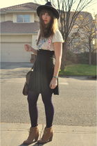 purple Betsey Johnson tights - white Forever 21 shirt - black thrifted skirt - g