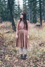 Brown-value-village-dress-ivory-teja-jamilla-stockings