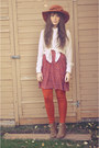 Bronze-lace-up-boots-the-bay-boots-red-vintage-dress-red-winners-hat