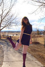 Purple-topshop-dress-pink-h-m-tights-blue-rocket-dog-shoes-yellow-nyc-flea
