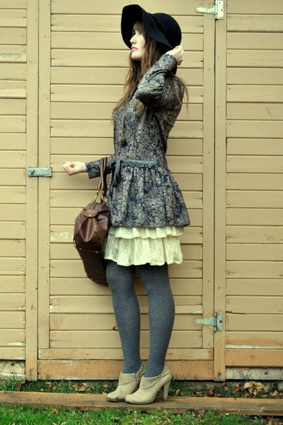 gray China Town dress - black Jessica Simpson hat - camel zellers shoes - cream