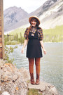 Brown-montana-boots-black-pinafore-jumper-thrifted-vintage-dress