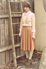 Camel-vintage-dress-clothes-swap-dress-light-brown-blowfish-shoes-wedges
