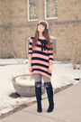 Pink-twin-set-sweater-black-lace-up-boots-forever-21-boots-black-oasap-socks