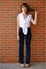 Thrifted-pants-white-blouse-thrifted-jacob-blouse-wedges-aldo-wedges