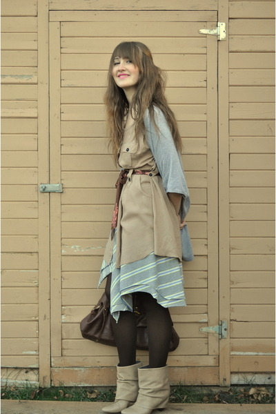 beige Zara boots - heather gray gap from moms closet cardigan