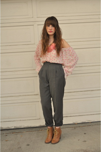 gray thrifted pants - beige the bay boots - pink blouse japanese blouse - pink A