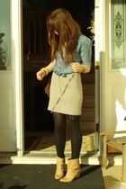 H&M blouse - H&M skirt - purse purse - Zara boots