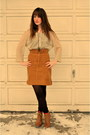 Camel-japanese-thrifted-blouse-brown-thrifted-vintage-skirt-camel-the-bay-bo
