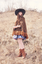 brown poncho vintage poncho jacket - brown boots boots