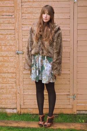 green blame betty local boutique dress - brown thrifted vintage jacket