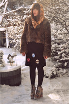 brown goodwillcket fur jacket - black floral dress vintage dress