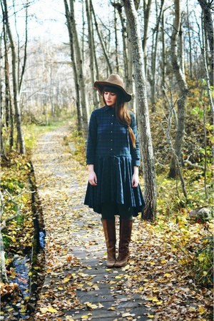 boots - forest green Marshalls dress - winners hat