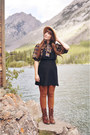 Light-orange-bow-blouse-value-village-blouse-brown-montana-boots