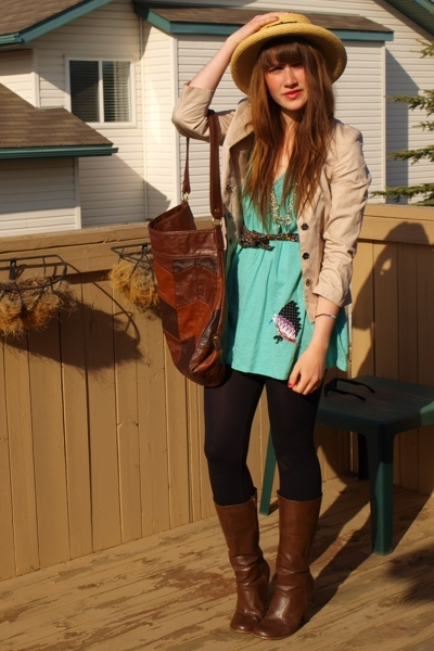 Value Village hat - H&M blazer - H&M purse - urban outfitterssale dress - Value