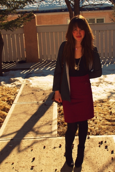 blazer - H&M skirt - vintage boots - necklace necklace